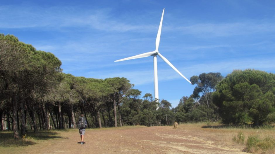 Wind turbines are a familiar sight in the western Algarve