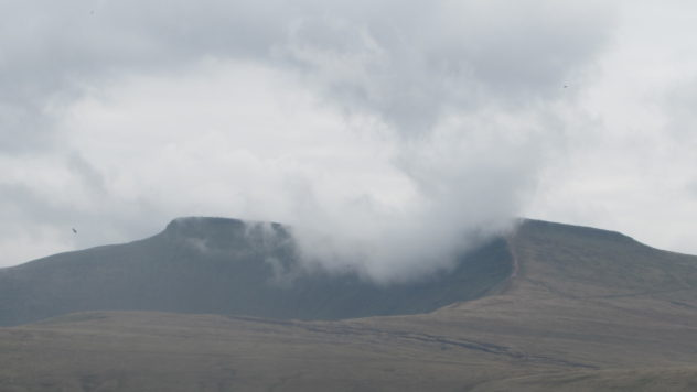 Cloud engulfs the summit of Corn Du, Brecon Beacons National Park