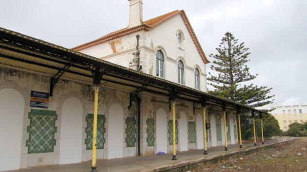 Green and white azulegos on Lagols old railway station