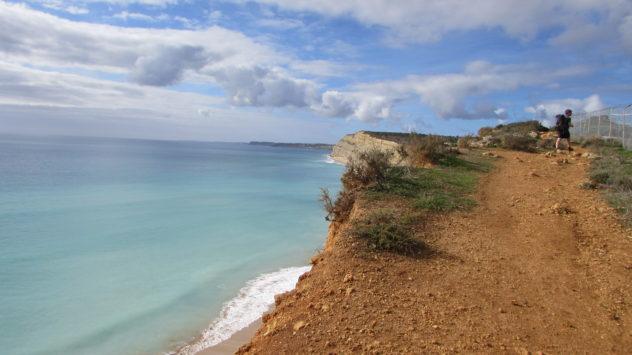 High sandstone cliffs, near Lagos, Western Algarve, Portugal