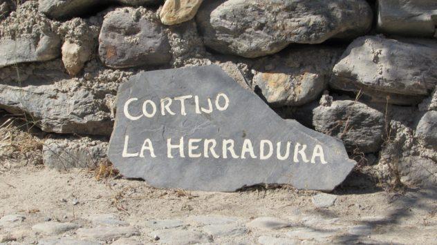 La Herradura sign, Acequia, Guadalfeo valley, Orgiva, Alpujarras,