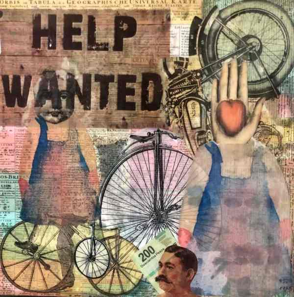 Help Wanted scaled Tracy Casagrande Clancy Encaustic Mixed Media
