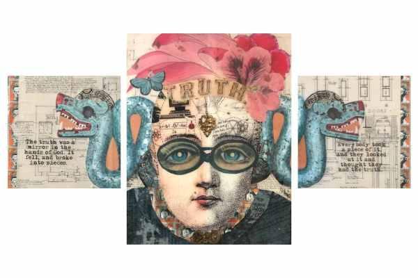 Mirror of Truth set of 3 1 Tracy Casagrande Clancy Encaustic Mixed Media
