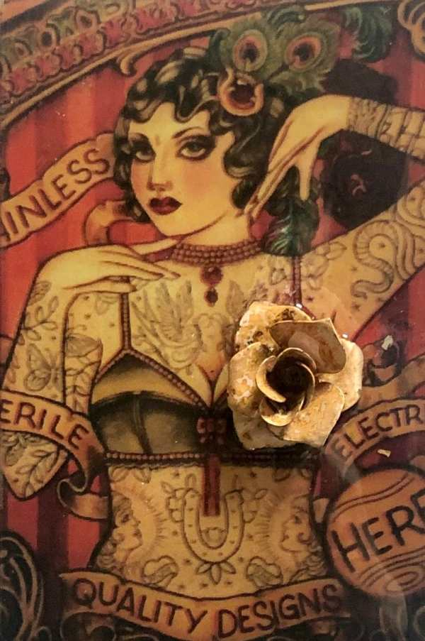 Tattoo Temptress scaled Tracy Casagrande Clancy Encaustic Mixed Media