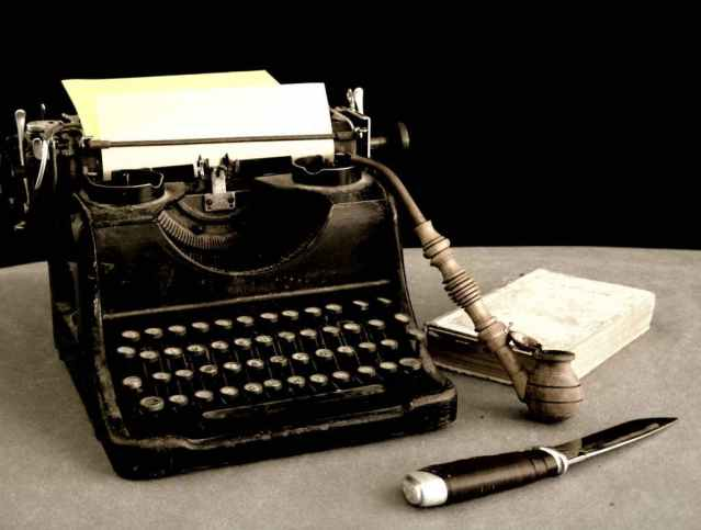 Typewriter, Knife, Book