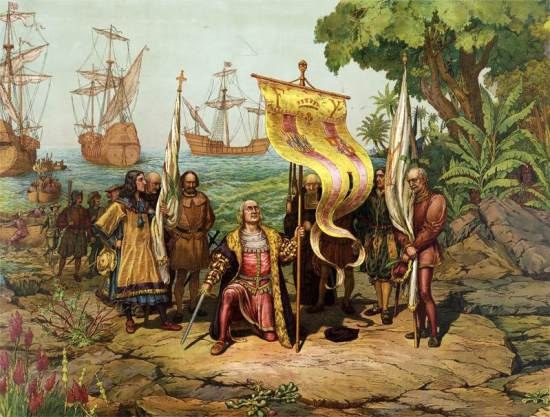 Columbus reaches the new world.