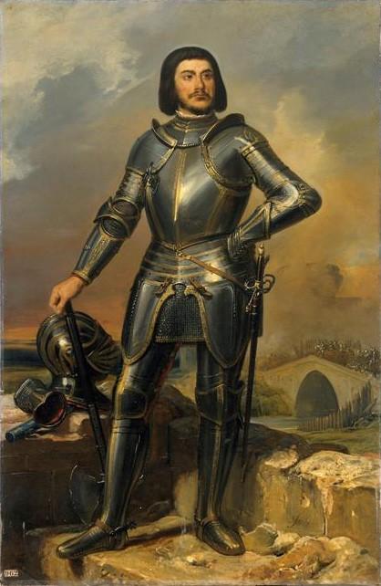 Gilles de Laval, sire de Rais, compagnon de Jeanne d'Arc, Maréchal de France (1404-1440). Huile sur toile (1835) exposée dans la galerie des maréchaux de France, château de Versailles.