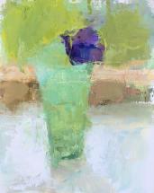 purple lisianthus in jadeite vase