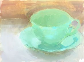 a painting of a jadite cup