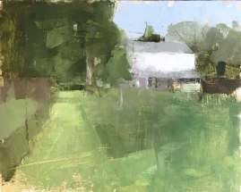 oil painting of white house in a green field of grass