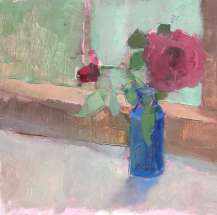 oil painting of red roses in antique blue bottle