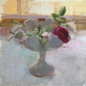 oil painting of roses in white milk glass compote dish.