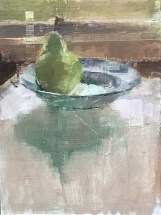 "Pear in blue bowl, 9x12"" (available)"