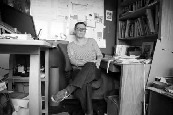 The author, between desks
