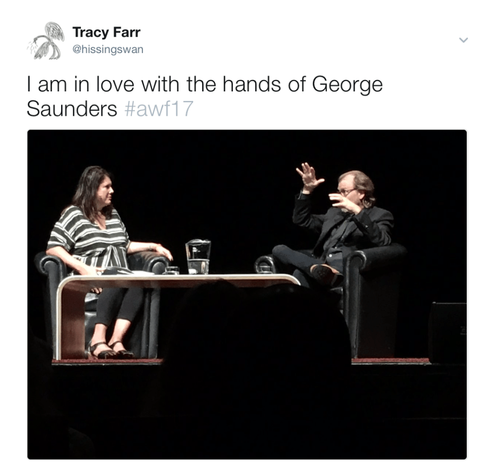 The hands of George Saunders
