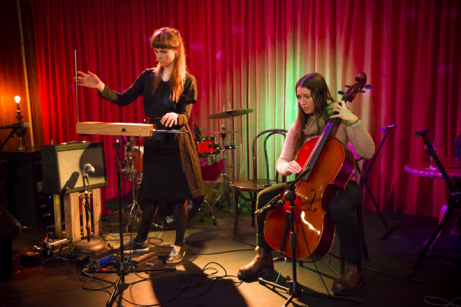 Nell on theremin and Erika on cello