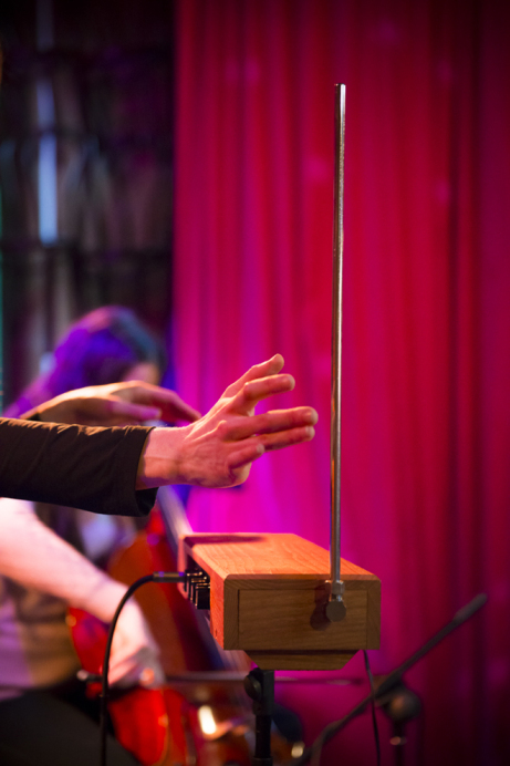 Playing theremin (photo: Matt Evans)