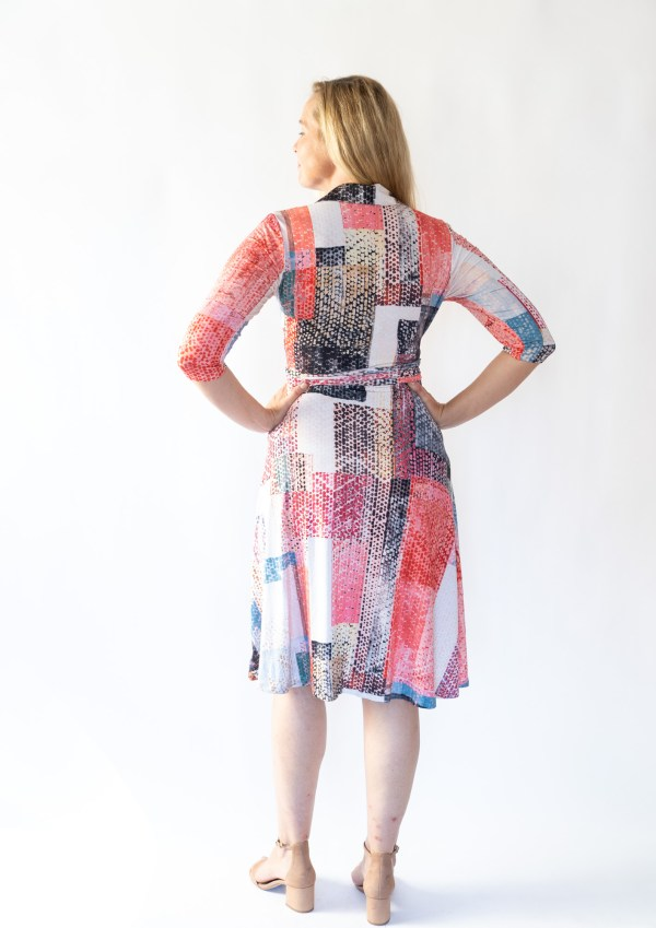 Tracy Gold Collection pink block print wrap dress back