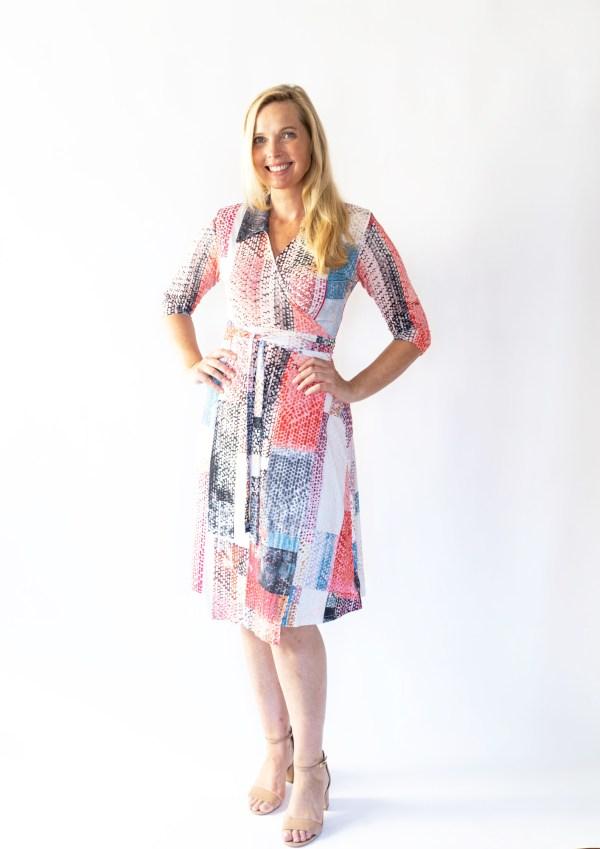 Tracy Gold pink block print wrap dress