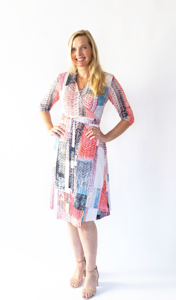 Tracy Gold pink block print wrap dress