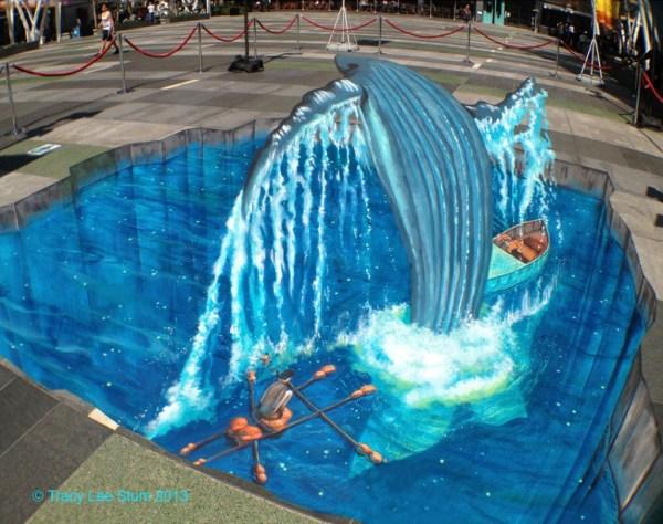 'life Of Pi' Splashes 3d Chalk Art Tracy Lee Stum