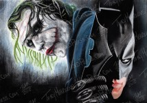 Batman & Joker, Pastel on Paper, 11x7.75 in, 2012