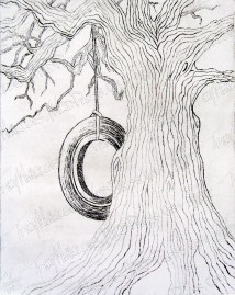 Tire Swing, Copper Etching print on Paper, 2013