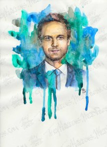 W-Patrick J Adams as Mike Ross, Watercolor & Ink on Paper, 9x12 in, 2014
