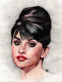 Penelope Cruz, Watercolor Pencil on Paper, 8.5x11 in, 2011