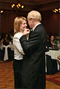 My parents dancing at my wedding. Doctors weren't sure she would make it to the wedding. And here she is dancing...