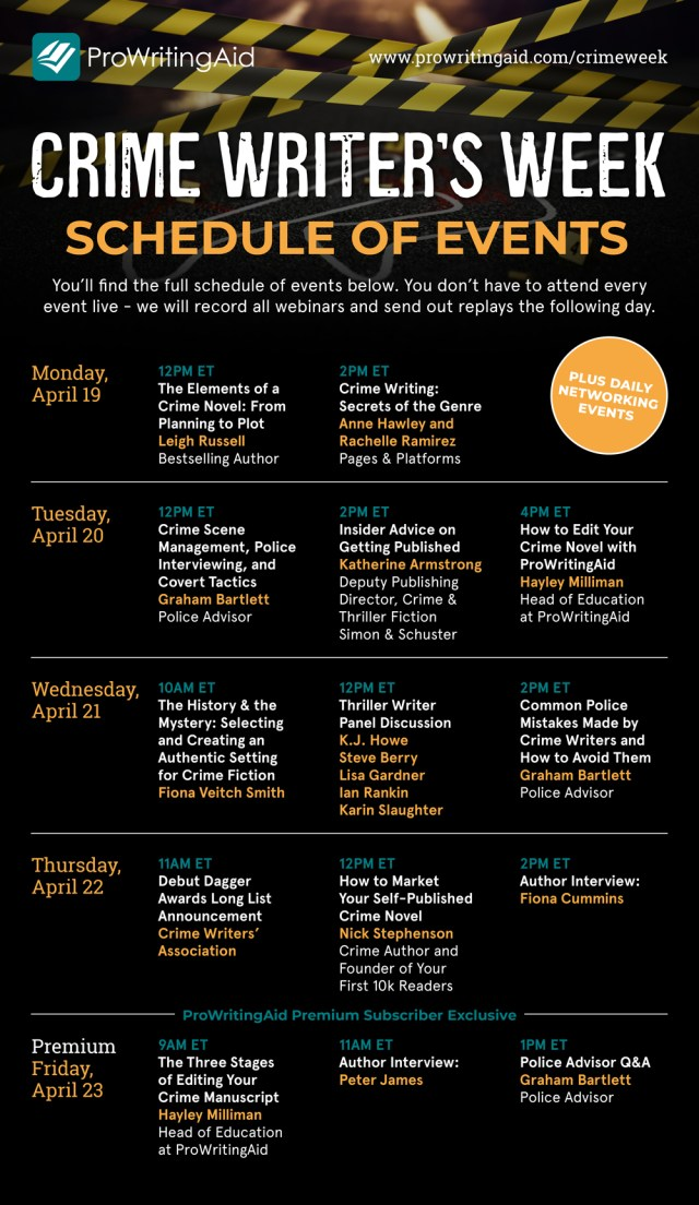 Crime Writer's Week - Schedule of Events