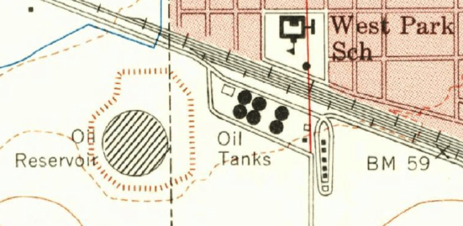 Map of Tracy, Calif., showing the location of the oil depot (1955)