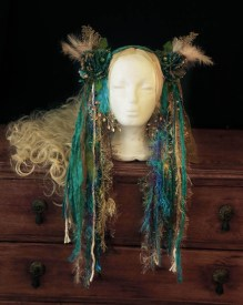 Turquoise woodland gypsy headdress 2