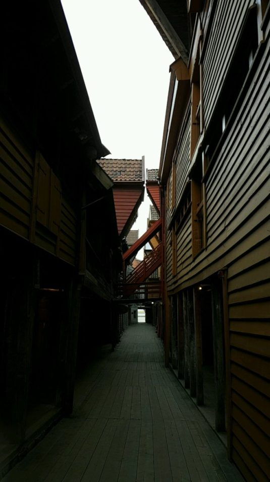 Norway - Between the houses at Bryggen in Bergen