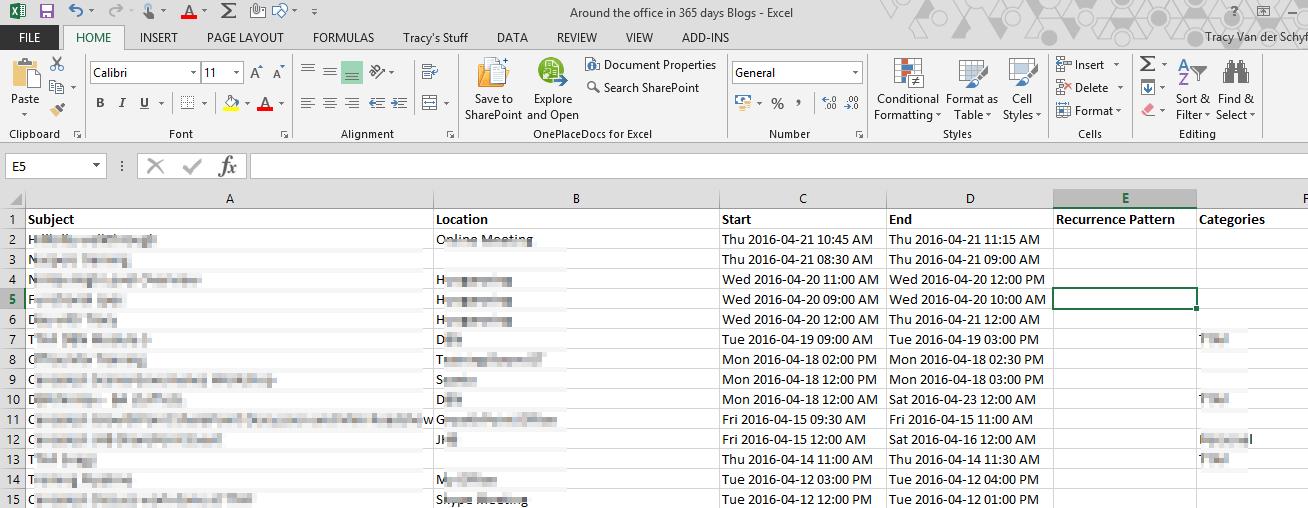 Day 68 – Outlook Calendar Copy to Excel