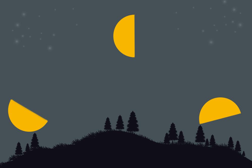 下弦の月の月出・正中・月没