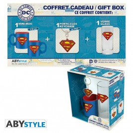 "DC COMICS - Pck Glasses 29cl + KeyringPVC + Mini Mug ""Superman"""