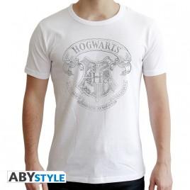"HARRY POTTER - Tshirt ""Hogwarts"" uomo SS bianco - nuova vestibilità"