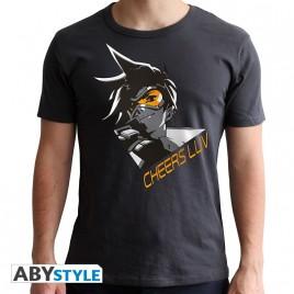 """OVERWATCH - Tshirt """"Tracer"""" uomo SS grigio scuro - nuova vestibilità"""