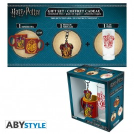 "HARRY POTTER - Pck Glass 29cl + Portachiavi + Mini Mug ""Grifondoro"""