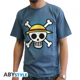 "ONE PIECE - Tshirt ""Skull with map"" uomo SS stone blue - basic"