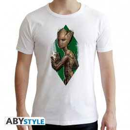 "MARVEL - Tshirt ""Teen Groot"" uomo SS bianco - nuova vestibilità"