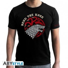 GAME OF THRONES - Tshirt Bend the Knee - uomo SS nero - nuova vestibilità