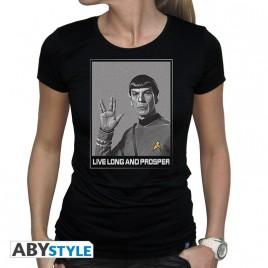 """STAR TREK - Tshirt """"Spock"""" donna SS nera - nuova vestibilità"""