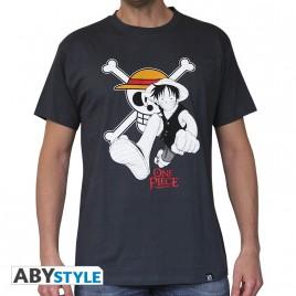 """ONE PIECE - Tshirt """"Rufy & Emblem"""" uomo grigio scuro - basic"""