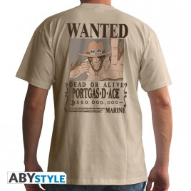 "ONE PIECE - Tshirt ""Wanted Ace"" uomo SS sand - basic"