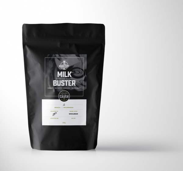 Milk Buster Espresso Blend. Single Origin Arabica Brazil and Nicaragua.