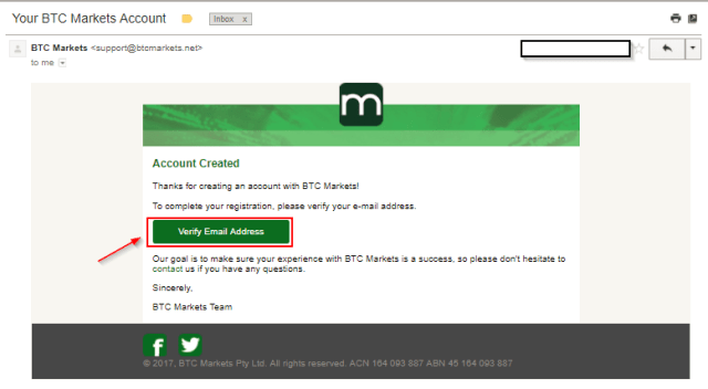 Verify your email address with BTC Markets