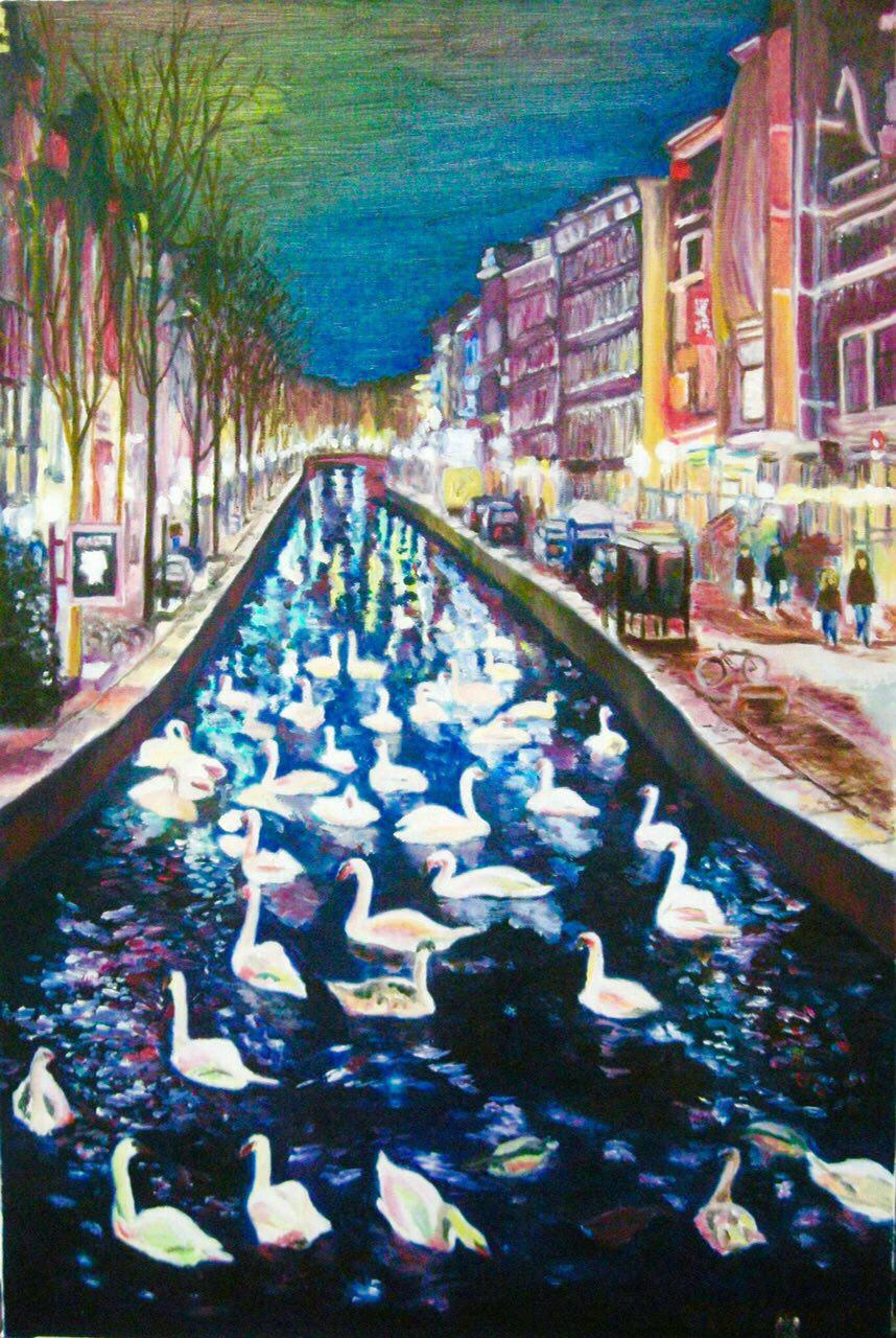 Swans In The City. 60 by 91 cm.