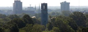 aerial view nc state belltower with raleigh in background